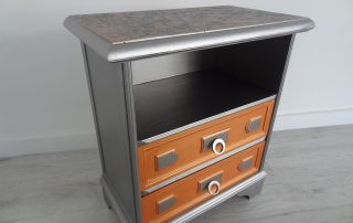 Relooking GUERIDON ANNEE 50 METALLISE ET ORANGE IRISE